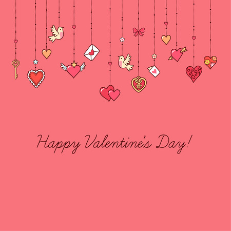 Ilustración de Little hanging hearts and other decorations on pink background.  Greeting card for Valentine's day. - Imagen libre de derechos