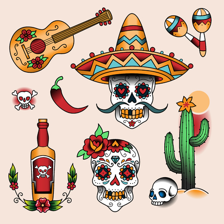 Illustration for Mexican symbols. Set of  color tattoos in traditional vintage style - Royalty Free Image