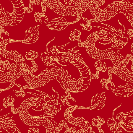 Ilustración de Chinese dragons fighting, gold outlines on red. Seamless pattern for textile and decoration. - Imagen libre de derechos