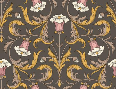 Ilustración de Victorian style pink bell flowers with golden leaves on dark background. Elegant seamless pattern for textile design and decoration  - Imagen libre de derechos
