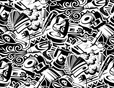 Foto de Tools for vinyl film pasting of car. Graffity style illustration. Seamless pattern for your design  - Imagen libre de derechos