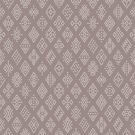 Illustration pour Ethnic boho seamless pattern for textile and design. Light geometric ornament on brown background  - image libre de droit
