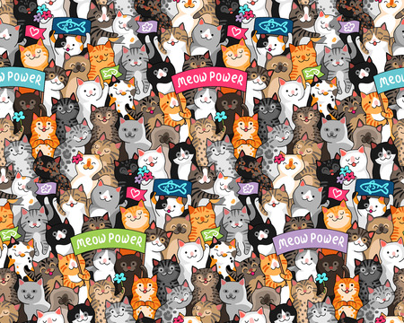 Illustration pour Parade of cats with slogans. Lots of cute  characters at cartoon style. Seamless multicolor pattern for textile, design and decoration  - image libre de droit
