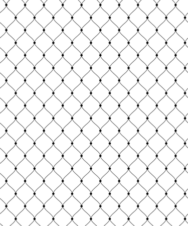 Illustration pour Abstract seamless pattern for textile and design. Simple black lace grid with dots  - image libre de droit