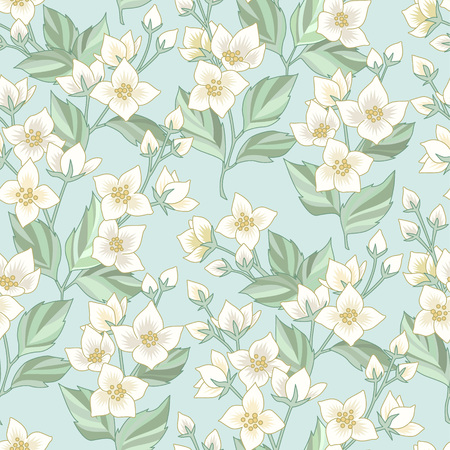 Ilustración de Floral seamless pattern with white jasmine on blue background. Pattern at provence style  for textile, design and decoration - Imagen libre de derechos