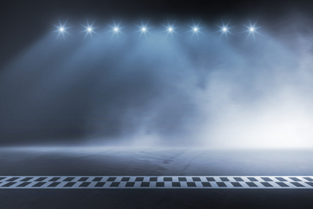 Photo for Race track finish line racing on night - Royalty Free Image