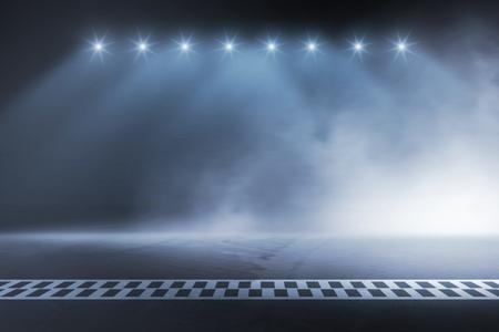 Foto de Race track finish line racing on night - Imagen libre de derechos