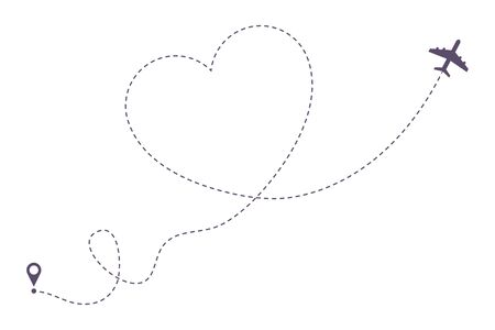 Photo pour Love airplane dotted line path. Air plane route in heart form, hearted aircraft way. Vector illustration. - image libre de droit