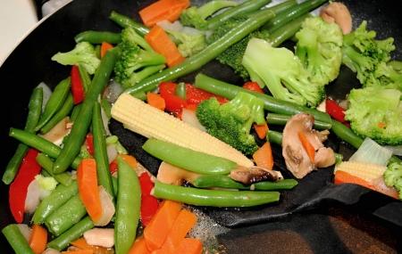 Assorted Vegetables Cooking In Skillet