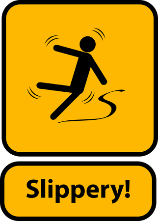 Illustration pour Slippery warning yellow sign - image libre de droit