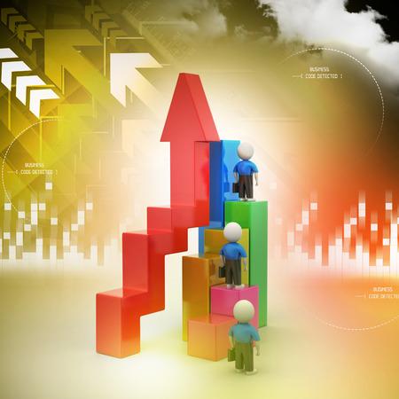 3d business people climbing on bar graph