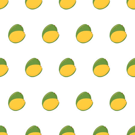 Hand drawn seamless pattern with half and whole mango fruit for wallpaper design. Vector isolated illustration.