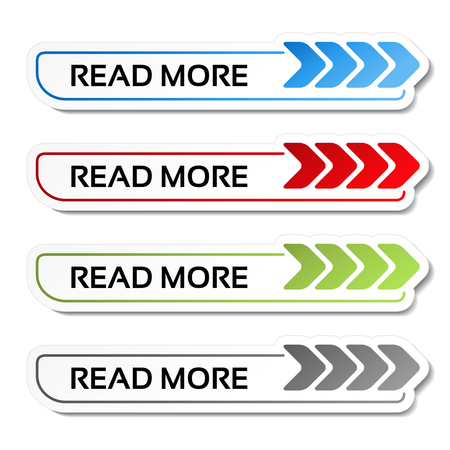 Illustration pour Vector read more buttons with arrows - labels on the white background - illustration - image libre de droit