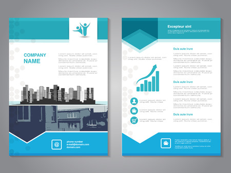 Photo pour Vector modern brochure with arrow design, abstract flyer with background of monochrome buildings. Layout template. Aspect Ratio for A4 size. Poster of blue, grey and white color. Magazine cover. - illustration - image libre de droit