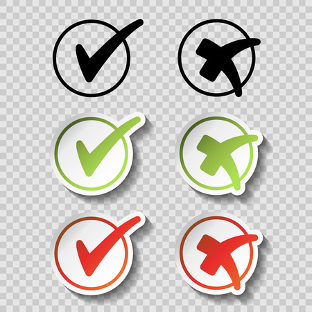 Illustration pour Vector check mark black, green and red simple symbols on transparency background, circular buttons with shadow - illustration - image libre de droit