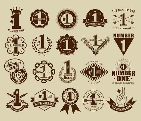 Ilustración de Vintage Retro The Number One  1 Seals and Badges Collection - Imagen libre de derechos