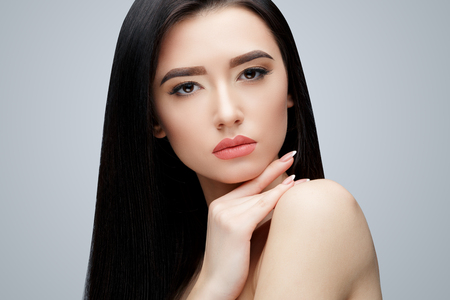 Photo for Brunette asian girl with long straight hair - Royalty Free Image