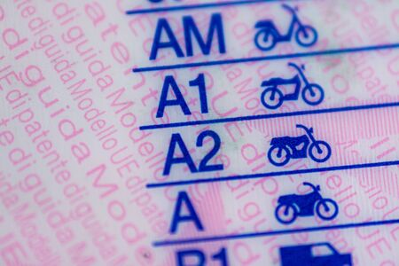 Photo for Macrophotography on european driving license categories - Royalty Free Image