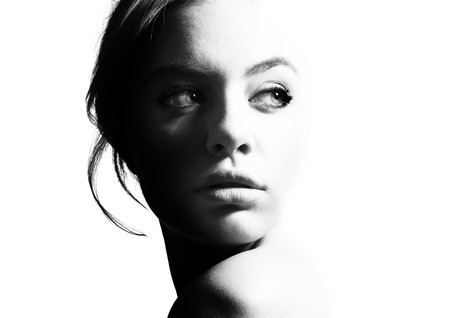 Photo for High contrast black and white portrait of a beautiful girl. - Royalty Free Image