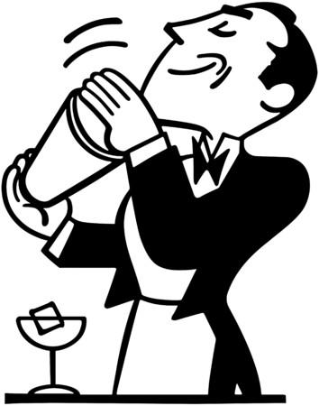 Illustration pour Bartender Mixing Drink - image libre de droit