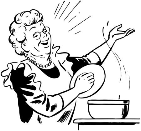 Foto de Lady Cook With Pot - Imagen libre de derechos