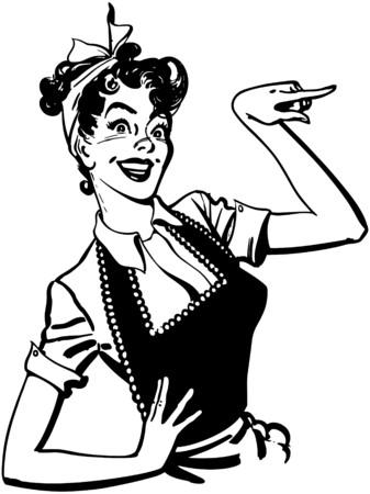 Illustration pour Pointing Housewife - image libre de droit