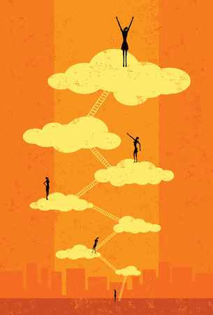 Illustration pour Seventh Heaven, Successful businesswomen climbing the corporate ladder to seventh heaven. The people and ladders are on a separate labeled layer from the background. - image libre de droit