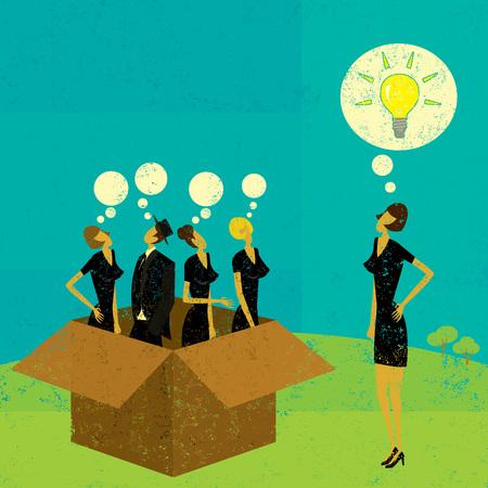 Illustration pour Thinking outside the box - image libre de droit
