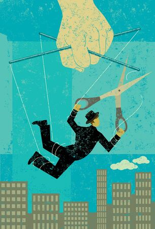 Illustration pour Escaping a controlling boss - image libre de droit