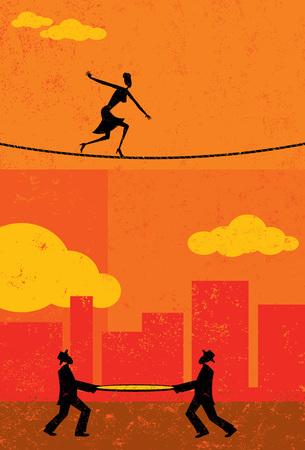 Illustration pour Walking a Tightrope - image libre de droit