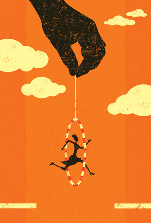 Illustration for Jumping through a hoop banner design - Royalty Free Image