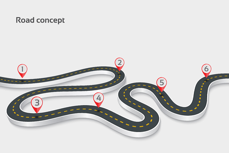 Illustration for Winding 3d road infographic concept on a white background. Timel - Royalty Free Image