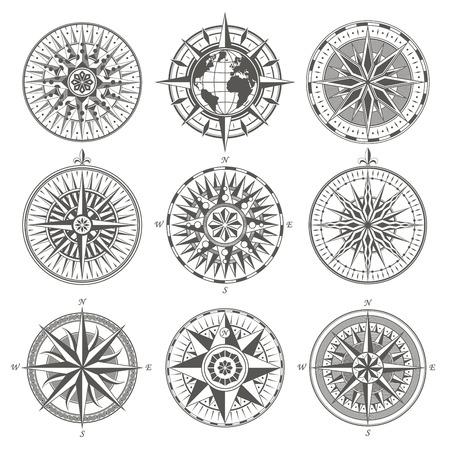 Illustration pour Set of vintage antique wind rose nautical compass signs labels e - image libre de droit