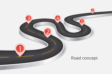 Illustration for Winding 3d road infographic concept on a white background. Timeline template. Vector illustration. - Royalty Free Image