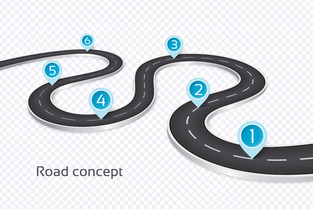 Illustration for Winding 3d road infographic concept on a white background. Timeline template. Vector illustration - Royalty Free Image