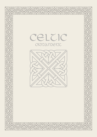 Illustrazione per Celtic knot braided frame border ornament. - Immagini Royalty Free