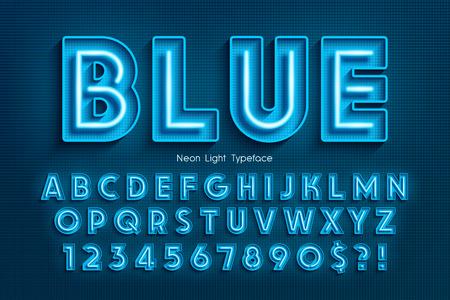 Illustrazione per Neon light 3d alphabet, extra glowing font. - Immagini Royalty Free