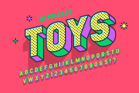 Illustration pour Comic 3d display font design, alphabet, letters and numbers - image libre de droit