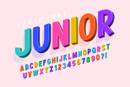 Illustration pour Trendy 3d comical font design, colorful alphabet, typeface. Color swatches control - image libre de droit