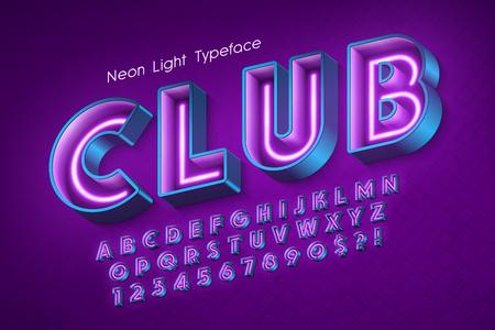 Ilustración de Neon light 3d alphabet, extra glowing font. - Imagen libre de derechos
