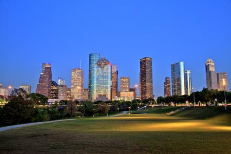 Photo pour Houston Downtown Skyline Illuminated at Blue Hour - image libre de droit