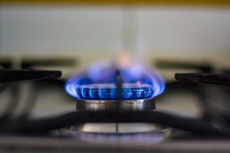 Photo for Gas burning from a kitchen gas stove - Royalty Free Image