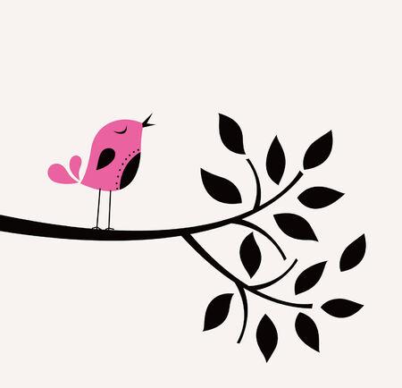 vector bird and tree design