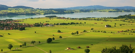Photo for Aerial panoramic view on green fiekds and meadows of Germany. - Royalty Free Image