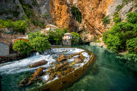 Photo for Small village Blagaj on Buna spring and waterfall in Bosnia and Herzegovina - Royalty Free Image