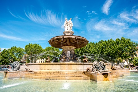 Photo pour The Fontain de la Rotonde with three sculptures of female figures presenting Justice in Aix-en-Provence in France - image libre de droit