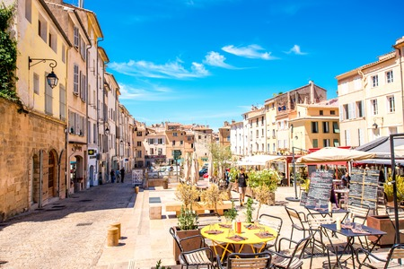 Photo for Aix-en-Provence, France - June 20, 2016: Cardeurs square with cafes and restaurants in the old town of Aix-en-Provence city on the south of France. - Royalty Free Image