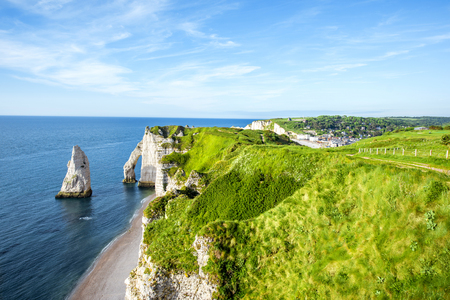 Photo for Landscape view on the rocky coastline in Etretat - Royalty Free Image