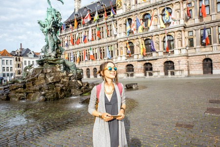 Photo for Woman traveling in Antwerpen city, Belgium - Royalty Free Image