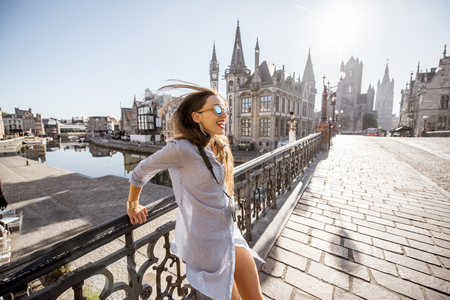 Photo for Woman traveling in Gent old town, Belgium - Royalty Free Image